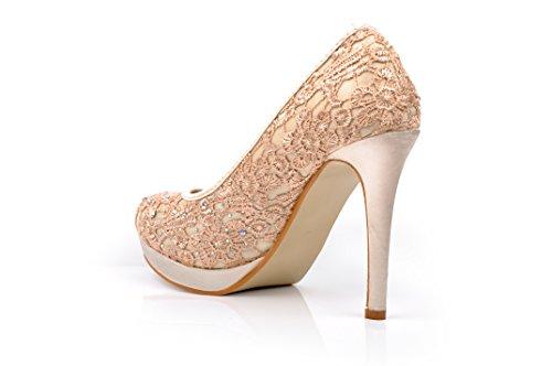 Satin Beige Lace Diamante Wedding High Heels Platform Evening Prom Peeptoe Shoes i45YC