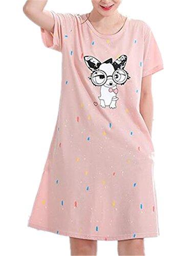 Forti Camicia Pigiama da da Notte BESTHOO Taglie Abito Vestito Stampate Notte Pink1 Donna Sleepwear da Girocollo Notte Vestito Comoda da B5U08gqz