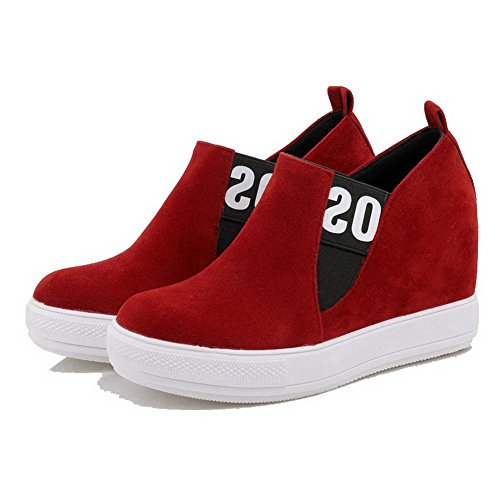 AgooLar Women's Imitated Suede Ankle-high Assorted Color Pull-On High-Heels Boots Red MBWOz