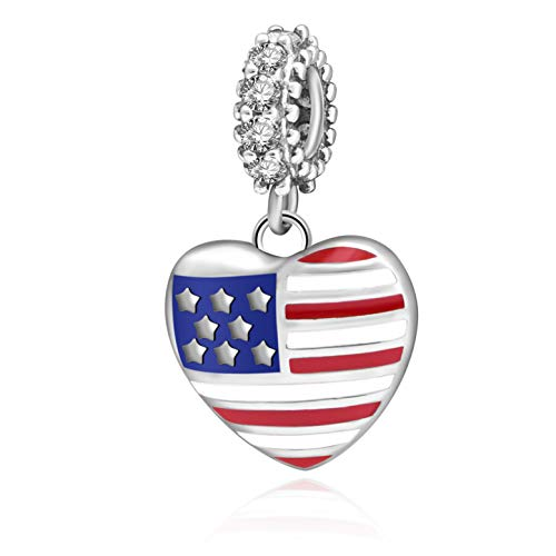 - USA American Flag Charms 925 Sterling Silver Heart Love Motherland Charms Fits European Bracelet (Heart Dangle)