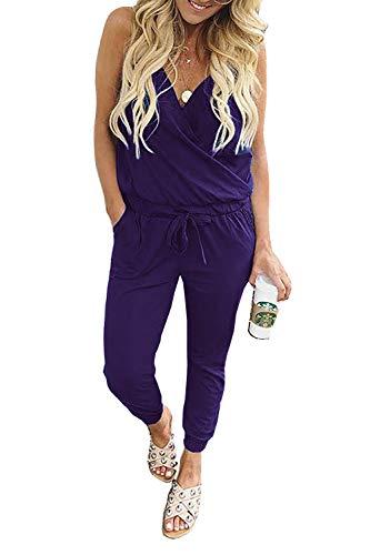 Women's Jumpsuit Rompers V Neck Spaghetti Strap Drawstring Waisted Long Pants Jumpsuits (Purple, Medium)