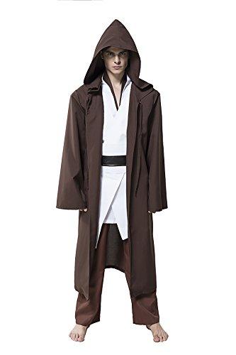 Honey Box Hooded Tunic Movie Cosplay Costume Jedi Robe - L