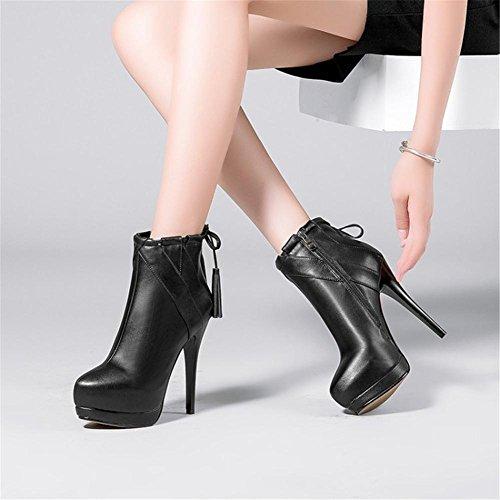 35 Cabeza Impermeable Nueva del Mujeres de EUR Negro Black Otoño Invierno alto moda borla redonda estilete cortas Genuino tacón Zapatos Botas Cuero 3 UK xwCwqOP1