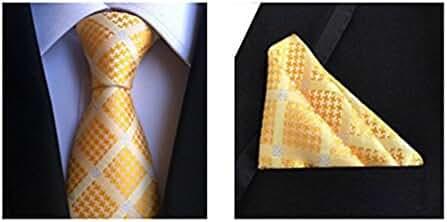 MENDENG Men's Gold Plaid Checks Silk Tie Wedding Party Necktie Hanky 2 Pcs Sets