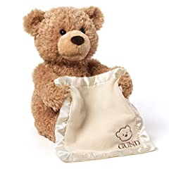 GUND combined one of baby's favorite games with a soft and adorable animated plush toy. Peek-A-Boo Bear features a movable mouth and arms, as well as a satin-accented blanket that provides additional tactile sensation. At the push of a button...