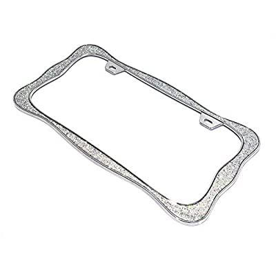 creathome 3D Shining License Plate Frame (Chrome with Shining Sliver Chunky Gliter (New)): Automotive