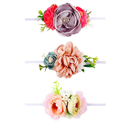 Baby Girls Nylon Floral Headband - Subesty Flower Crown Elastic Hairband For Newborn Infant Toddler Photo Shower Set Of 3 by Subesty