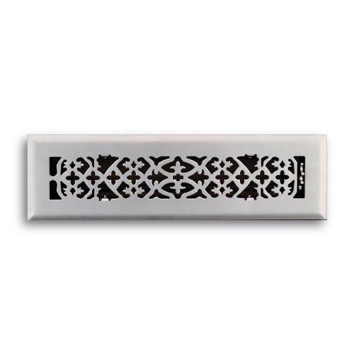 Truaire C164-OSN 02X12(Duct Opening Measurements) Decorative Floor Grille 2-Inch by 12-Inch Ornamental Scroll Floor Diffuser, Satin Nickel Finish