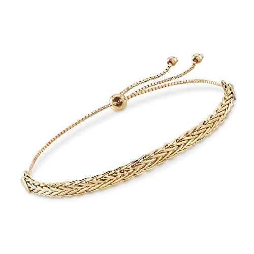 Ross-Simons 18kt Yellow Gold Flat Wheat-Link Bolo Bracelet
