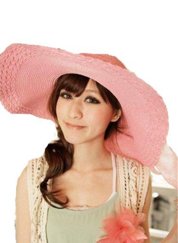 Autek cap Plage Chapeau De Paille Femme/Chapeau Anti Soleil/Chapeau Touristique Large bord Été Pliable rose