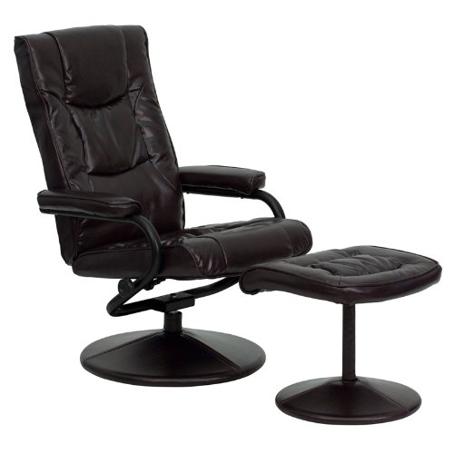 flash furniture brown leather recliner and ottoman with leather wrapped base