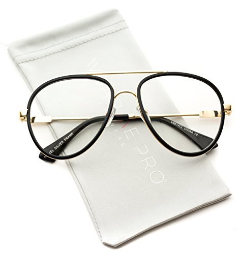 WearMe Pro - Large Vintage Inspired Aviator Clear Lens - Thick Hipster Glasses