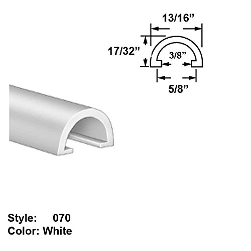 Food-Grade UHMW Plastic Half-Round Push-On Trim, Style 070 - Ht. 17/32'' x Wd. 13/16'' - White - 25 ft long by Gordon Glass Co.