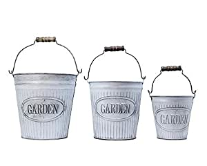 Tommy'sCreativeLifestyle Set of 3 Iron Flower Bucket With Handle - White