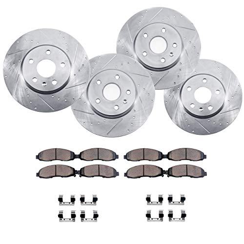 Detroit Axle - ALl (4) Front and Rear Drilled and Slotted Disc Brake Rotors w/Ceramic Pads w/Hardware for 06-12 Ford Fusion - [07-12 Lincoln MKZ] - 06-13 Mazda 6 - [06-11 Mercury Milan] ()