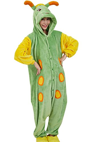 Unisex Green Caterpillar Onesie Adult Pajamas Cosplay Costume XL Green (Couples Cosplay Costumes)
