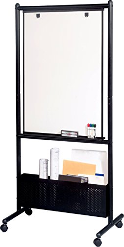 (Best-Rite Mobile Nest Easel, Black Frame, Double Sided Porcelain Steel Whiteboard, 72