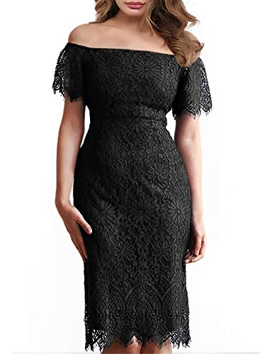 - MSLG Little Black Dress Sexy Floral Lace Cocktail Chic 80s Prom Dresses for Juniors and Teens Date Prime Wardrobe Womens Clothing 929 Black S