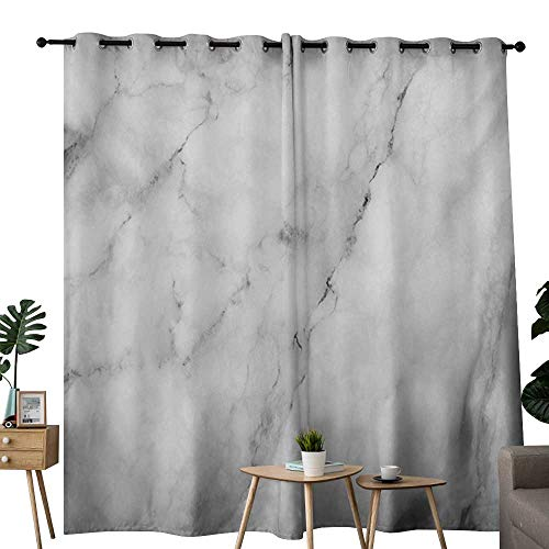 NUOMANAN Bedroom Curtain Marble,Granite Surface Motif with Sketch Nature Effect and Cracks Antique Style Image,Grey Dust White,Insulating Room Darkening Blackout Drapes 84