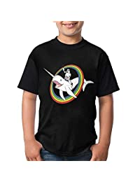 Narwhal Rainbow Youth Boys/Girls Summer Short Sleeve Tops T-Shirt