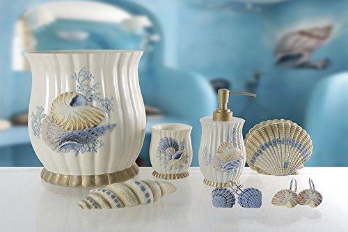 BH Home & Linen 6-Piece Decorative Bathroom Accessory set Made of Ceramic (Spa Shell)