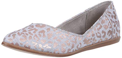 TOMS Women's Jutti Ballet Flat, Rose Gold slub Chambray Cheetah Print, 9.5 Medium ()