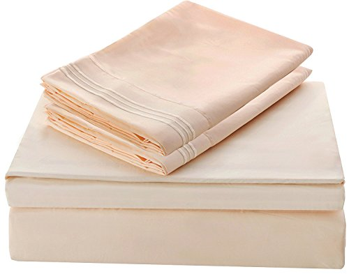 Lux Decor Collection Bed Sheet Set - Brushed Microfiber 1800 Bedding - Wrinkle, Stain and Fade Resistant - Hypoallergenic - 3 Piece (Twin, Embroidery Vanilla)