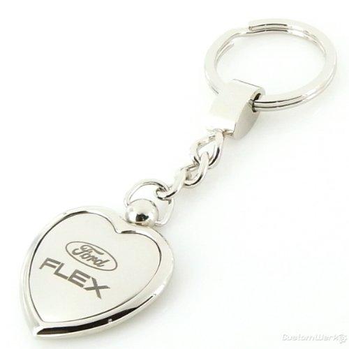 Ford Flex Satin//Chrome Two Tone Heart Shape Keychain