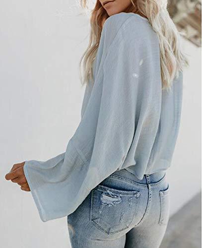 Poids Ourlet Huateng lger Tops Col Unie pour Couleur en Lacets Chemisier Bleu Roul Femme Dcontract Pull Vrac 8pgnqp1U