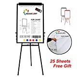 Board2by Tripod Whiteboard Easel - 24'' x 36'' Magnetic Dry Erase Board/Flipchart Stand, Adjustable Aluminum Frame Black Stand, Exclusive Design Magnetic Eraser&Pens, 25-Sheet Papers, 6 Magnets for Free