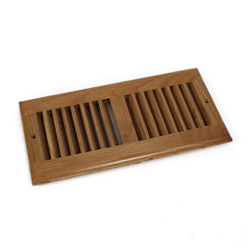 (WELLAND 4 X 10 Inch Clear Finished Red Oak Wood Vent Floor Register Self Rimming,3/4