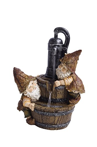 Alpine GXT738S Old Fashion Water Pump 2-Gnomes Tabletop Fountain, 12