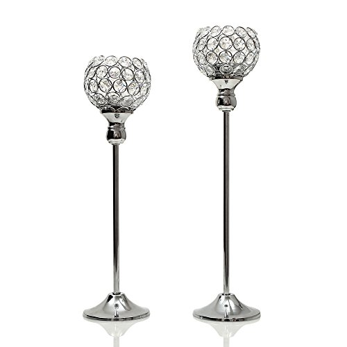 VINCIGANT Crystal Pillars Candlesticks for Wedding Party Decoration Set of 2