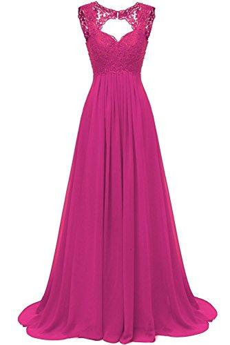 Lang Ballkleider Spitze Elegant Abendkleider Fuchsia Kleider Für Hochzeit Damen Carnivalprom Chiffon Brautjungfer OqzwxHv