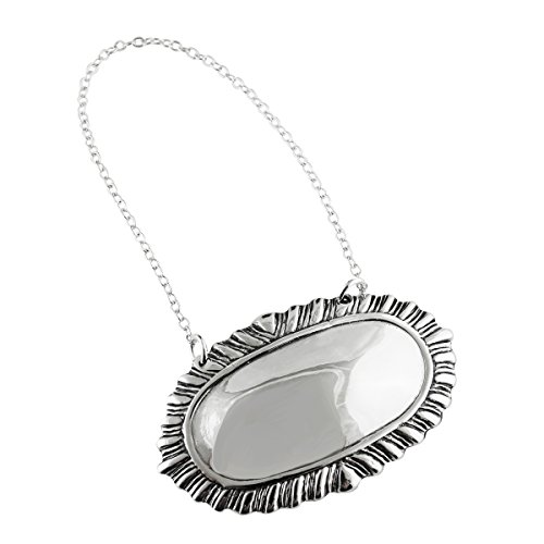 (FashionJunkie4Life Sterling Silver Engravable Oval Wine Liquor Bottle Decanter Label Name Tag)