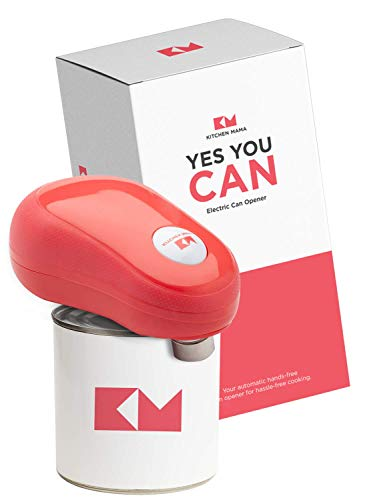 Kitchen Mama Auto-Stop Electric Can Opener: One Touch, Press and Forget | Battery Operated, Hands-Free and Portable, Smooth-Edge Cut Perfect for Senior with Arthritis (Red)