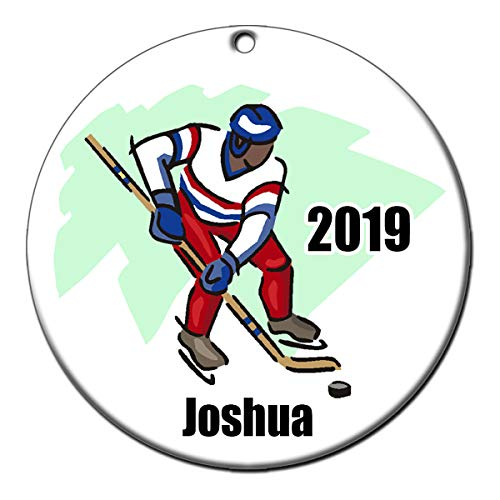 - Mandy's Moon Personalized Gifts Ice Hockey Player Ornament - African American
