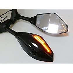 Gloss Black Mirror w/ Arrow Turn Signal For YAMAHA YZF R1 R6 R6S FAZER FZR 600 Honda CBR 600 1000 RR F4I 600RR 954 Kawasaki Ninja 250R 500R 650R ZX10R Suzuki GSXR 600 750 1000 1300