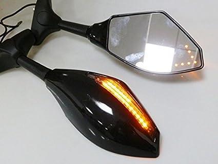 Brillante negro espejo w/Flecha intermitente para yamaha yzf ...