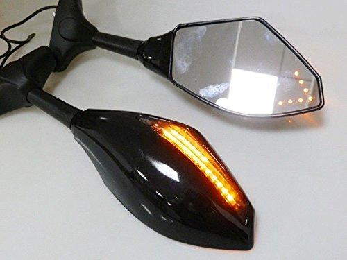 グロスブラックミラーW /矢印ウィンカーfor Yamaha YZF r1 r6 r6s Fazer FZR 600ホンダCBR 600 1000 RR f4i 600rr 954 Kawasaki Ninja 250r 500r 650r ZX - 10r Suzuki GSXR 600 750 1000 1300 B01KNKTG0Q