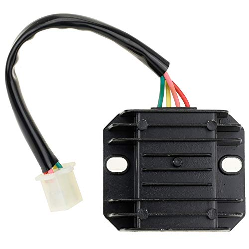 HIAORS 4 Pin Wire 12V Voltage Regulator Rectifier Male Plug for GY6 50cc 150cc CG 125cc 150cc 200cc 250cc Motorcycle Scooter Moped Dirt Bike Go Kart ATV ()