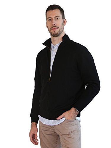 Merino Wool Zip Cardigan - MARMO DI CARRARA Men's 100% Merino Wool Winter Sweater Knitted with YCC Full Zip