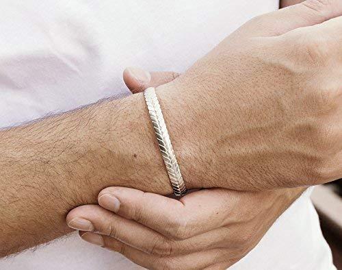 - Shiny Silver Geometric Patterned Bracelet, Solid Silver Oval Bangle, 925 Sterling Silver Bracelet, Geometric Bracelet, Stylish Gift For Him/code: 0.016