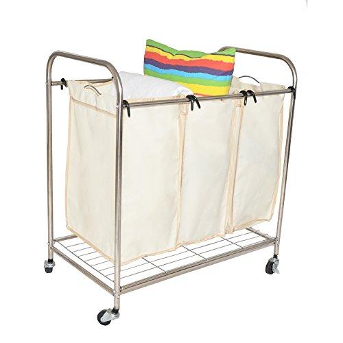 VECELO Economic 3-Bag Heavy Duty Laundry Sorter Cart