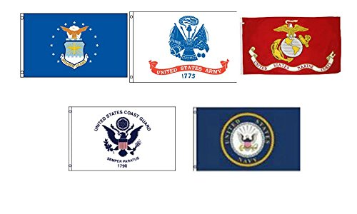 Set of 5 Branches Military 3'x5′ Double Sided Polyester Flags: Army, Air Force, EGA, Coast Guard, Navy Emblem For Sale
