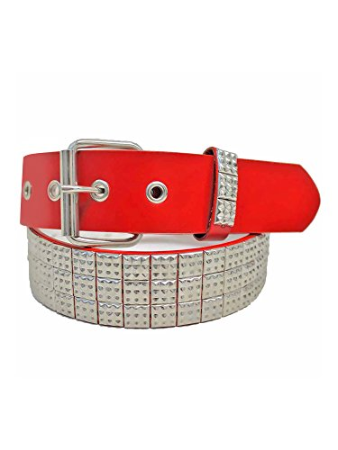 Red Silver Pyramid Studded 3 Row Grommet Belt Size Large ()