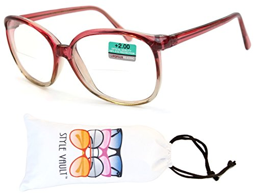 E3067-vp Style Vault Plastic Bifocal Reading Glasses (B2486F +2.00 Pink/Brown, - Reading Bifocal Glasses Clear
