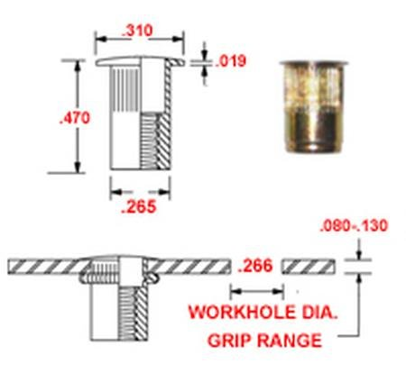 Pack of 50 SKS8-32-130 Steel Thin-NUT Small Flange Gold ZINC Finish 8-32 x .080-.130 Grip Range