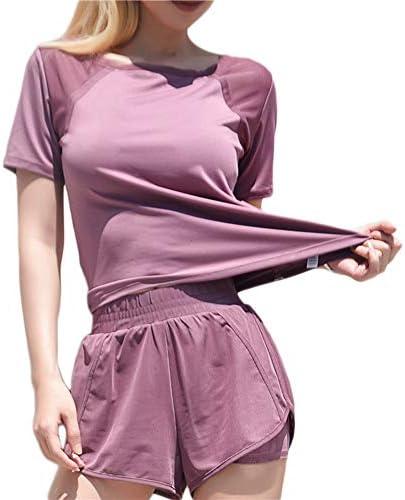 女性の半袖シフォンスプライスヨガトレーニングトップスハイキングTシャツ,紫色,L