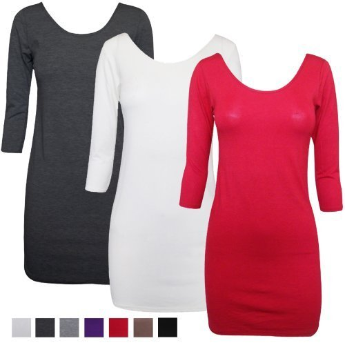 3 Oromiss para mujer/4 de manga operaciones de baja lisa camiseta de elástico y túnicas de evolución de un vestidos de verano plateado
